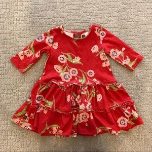 Tea from Nordstrom Red and Pink Flower Dress 2T